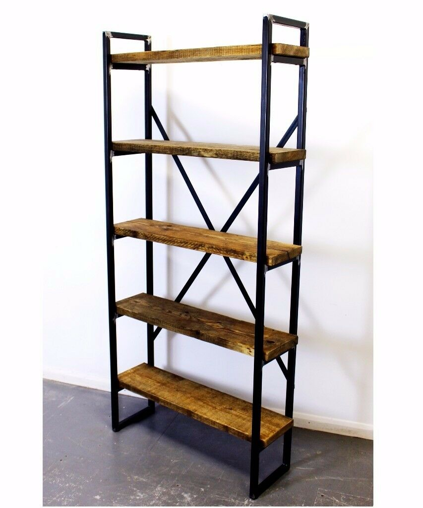 Industrial Style Bookcase Shelving Unit Reclaimed