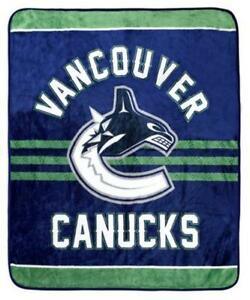 Vancouver Canucks Luxury Velour High Pile Blanket - Twin Size 60 x 70 Inch [Blue]