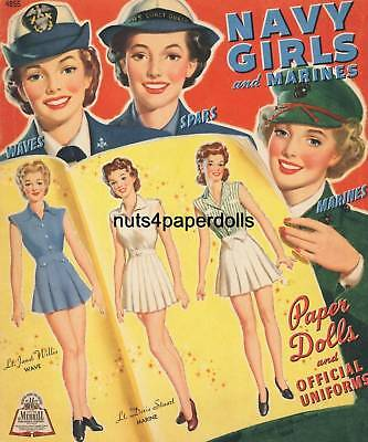 VINTGE 1943 NAVY GIRLS MARINES PAPER DOLL WWII ~HD LASER REPRO~ORIG. SIZE UNCUT