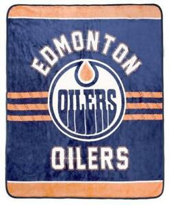 Edmonton Oilers Luxury Velour High Pile Blanket - Twin Size 60 x 70 Inch [Blue]