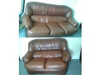 2 and 3 seater sofa leather brown