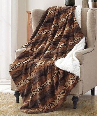Cheetah Faux Fur Throw - CHEETAH STRIPE FAUX FUR 50x70 THROW : ANIMAL SHERPA SAFARI WILDLIFE BLANKET
