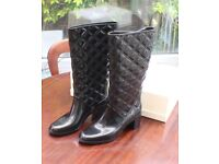 Marc Jacobs Black Rubber Ladies Wellies Boot Size 8