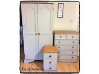 Bedroom Furniture Set Wardrobe Chest of Drawers Bedside Table Hand Painted in Grey Chalk Paint