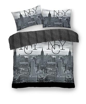 Grey Double Duvet Cover | Luxury Quilt Bedding Set | Pillow Case | New York City