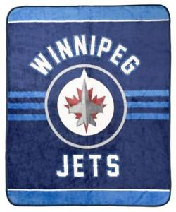 Winnipeg Jets Luxury Velour High Pile Blanket - Twin Size 60 x 70 Inch [Blue]