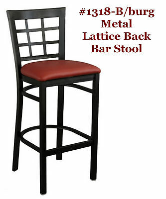 Metal Bar Stool Lattice Back Burgundy Seat Wholesale