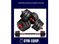 2 IN 1 20KG (44LBS) ADJUSTABLE DUMBBELL & BARBELL SET ***FREE EXPRESS DELIVERY***