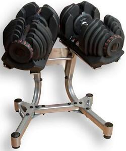 NEW 90lb Weight select Dumbbells Each dumbbell adjusts from 10 to 90 lbs.(Stand included)
