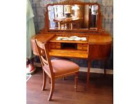 Stunning Art Deco Walnut Dressing Table & Chair - WE CAN DELIVER TO ALL GLASGOW POST CODES FOR FREE
