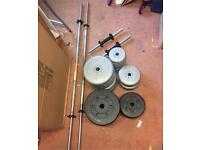 87.5kg Free weights with 2 dumbbell bars and 2 barbell bars