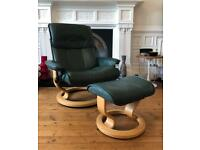 Ekornes stressless leather reclining armchair and footstool