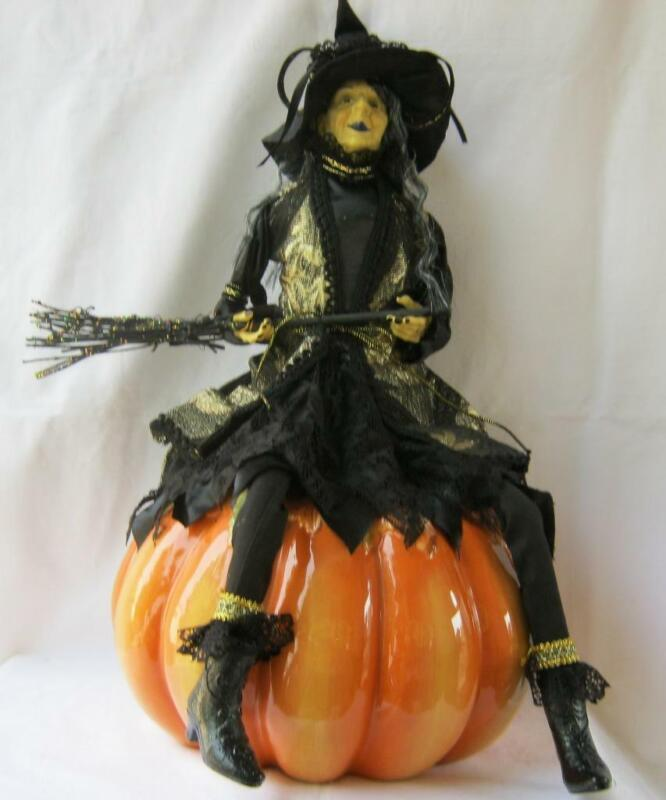 Large Halloween Witch Doll with Broom and Hat black and gold color