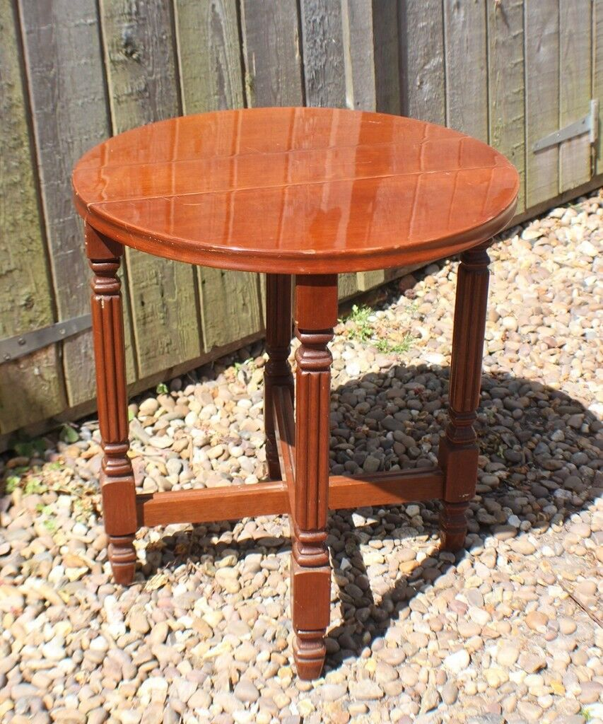 Small Round Wooden Folding Side Table
