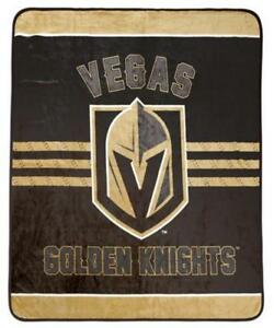 Vegas Golden Knights Luxury Velour High Pile Blanket - Twin Size 60 x 70 Inch [Black]