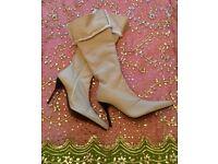 "*New Oatmeal/ Cream Designer ""Paloma Barcelo"" Ladies Soft Sheepskin Long Leather Boots: Size 40"