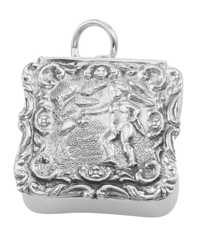 Antique Style Angel Keepsake Pillbox - Sterling Silver