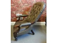 Vintage Green Leather Armchair Wooden on Casters Retro Smoking Chair
