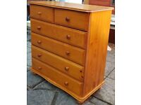 chest of 6 drawers, pine wood. in used but good condition