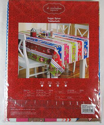St. Nicholas Square Sugar Spice Oval Tablecloth Gingerbread Man Vinyl 60