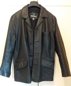 Mens Leather Jacket / Coat , Black , Small