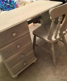 Solid pine grey desk