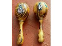 Set of wooden maracas from manorca only £1.50