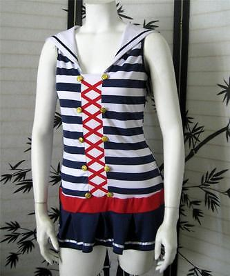 NEW SEXY COSTUME M/L Sailor Nautical Dress Flag red white blue halloween pin up
