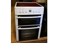 60cm White Hotpoint Ceramic Top Cooker, Double Oven/Fan Assisted - 6 Months Warranty