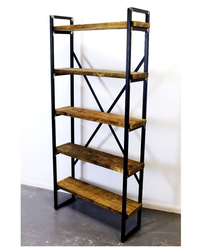 Industrial style bookcase shelving unit reclaimed timber scaffold shelves on a steel frame