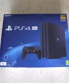 PS4 pro in box with six games two guitars and pad