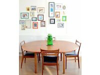 Vintage Danish circular extending teak table and 4 Beithcraft chairs. Delivery. Modern / midcentury.