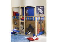 Pine kids pirate mid sleeper bed