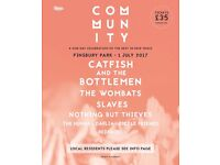 Community Festival tickets - 3 x £25.00 - Catfish and the Bottlemen, Wombats, Slaves and more