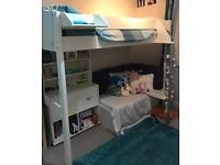 Stompa Casa High Sleeper Bed with Futon and Shelving Unit