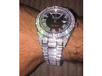 Rare fully iced out diamond rolex high spec not Cartier not Audemars diamond Swiss