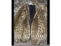 Leopard print fur coat size 12