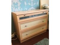 Chest of drawers, wardrobe and 2 pieces bedroom furniture