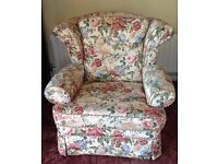 Two Comfy Matching Armchairs - Floral Design