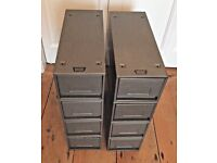 8 x vintage retro Velos metal index card drawers