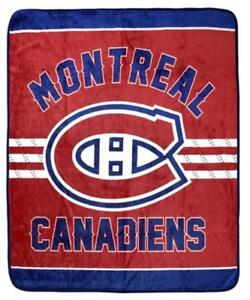 Montreal Canadiens Luxury Velour High Pile Blanket - Twin Size 60 x 70 Inch [Red]