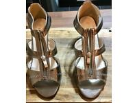 Gold wedge zip front wedge sandals size 6