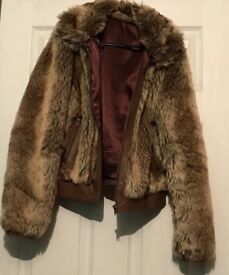 Faux Fur Girls/Women's Jacket With Real Leather Trim