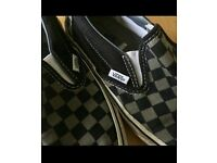 Grey checkered VANS slip on shoes size 6