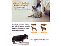 Pet Dog Slow Feeder Bowl with Bone Shape Rotating Hinder