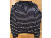 Calvin Klein ladies brown stripe lightweight sweater (medium to) LARGE