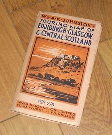 Vintage linen map of Edinburgh, Glasgow and Central Scotland. Price 2/6