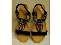 wedge black summer sandals