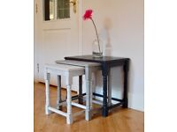 VINTAGE NEST OF 3 HAND PAINTED OAK TABLES Shabby Chic