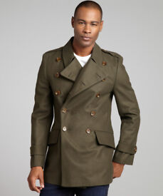 French Connection Men's Restrain Wool Military Coat, Olive, Medium